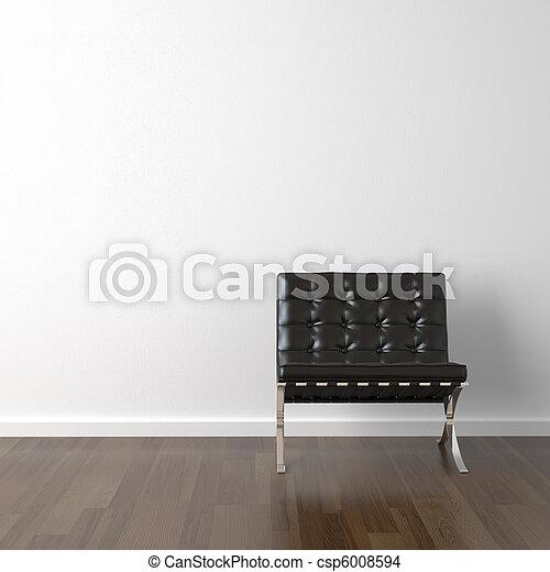 革, 壁, 椅子, 黒, 白 - csp6008594