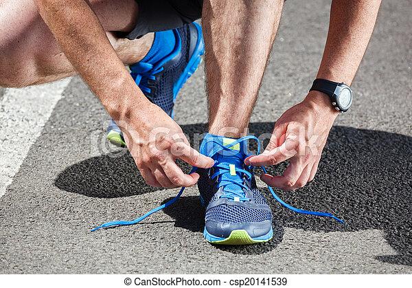 靴, 得ること, ランナー, 動くこと, 準備ができた, つらい, run. - csp20141539