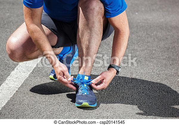 靴, 得ること, ランナー, 動くこと, 準備ができた, つらい, run. - csp20141545