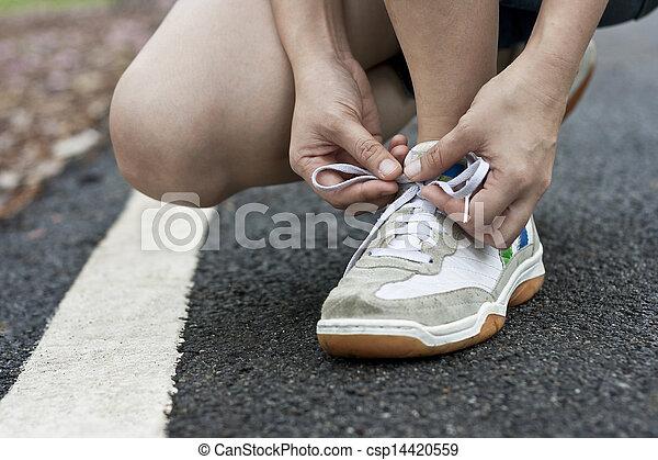 靴, 結ぶこと, スポーツ - csp14420559