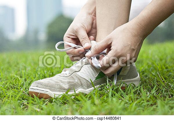 靴, 結ぶこと, スポーツ - csp14480841