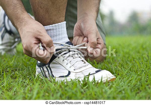 靴, 結ぶこと, スポーツ - csp14481017