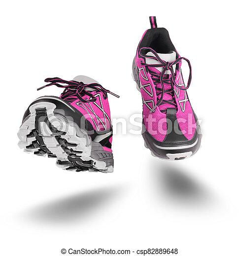 靴, 隔離された, スポーツ, ピンク, 動くこと, 白 - csp82889648