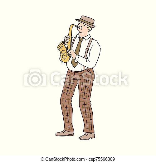 音楽家, サクソフォーン, ベクトル, スケッチ, イラスト, スタイル, isolated., 人, プレーヤー - csp75566309