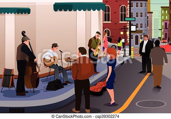 音楽家, ジャズ, 通り, 遊び - csp39302274