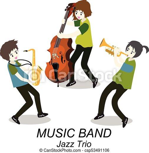 音楽家, スタイル, , イラスト, ジャズ, saxophone., 隔離された, コントラバス奏者, 背景, トリオ, ベクトル, トランペット, 漫画, band. - csp53491106
