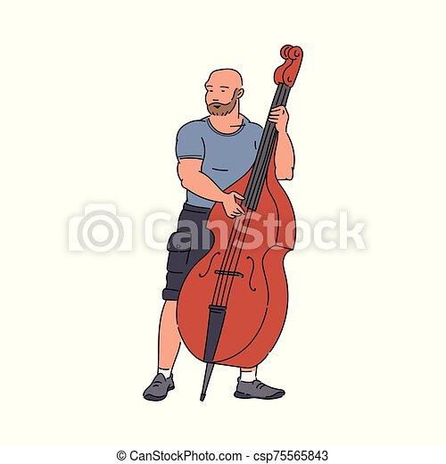 音楽家, 通り, 遊び, isolated., スケッチ, イラスト, 漫画, コントラバス, ベクトル - csp75565843