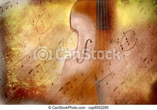 音楽, スコア, グランジ, ベース, 背景 - csp8552290