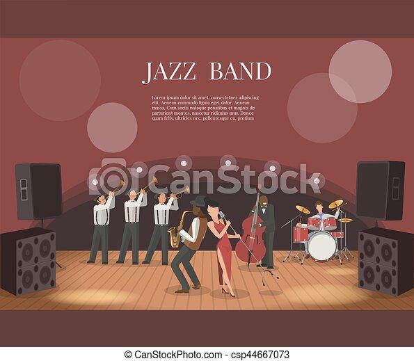 音楽, ベクトル, ステージ, 音楽家, バンド, ジャズ, イラスト, 平ら - csp44667073