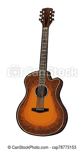 音響, 彫版, 色, 型, guitar., ベクトル, イラスト - csp78773153