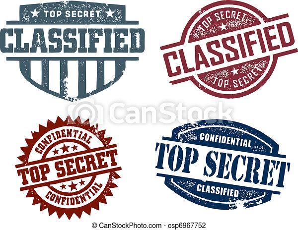 頂部, 分類, 秘密, 郵票 - csp6967752