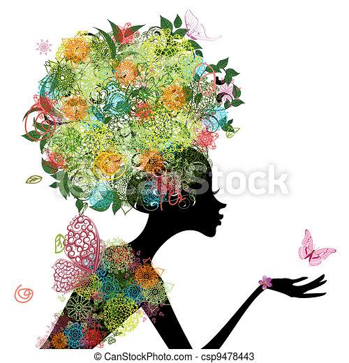 頭髮, 女孩, 時裝, 蔓藤花紋 - csp9478443
