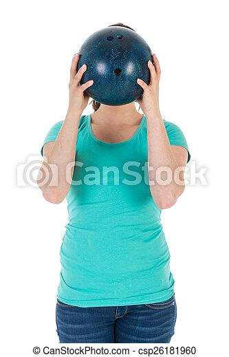 頭, ボール, 彼女, ただ, 女性の保有物, ボウリング, 前に - csp26181960