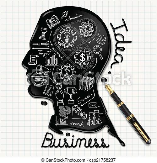 頭, 人々, インク, paper., 形づくられた - csp21758237