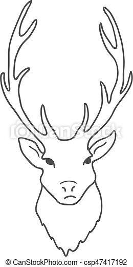 頭, 鹿, 隔離された, バックグラウンド。, ベクトル, 白 - csp47417192