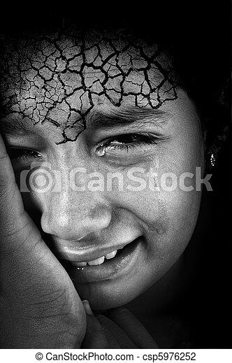 額, 女の子, 割れた, 叫ぶこと, 皮膚 - csp5976252