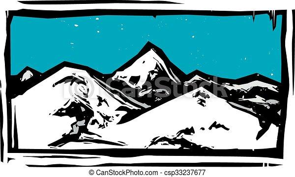 顏色, 山, 木刻 - csp33237677