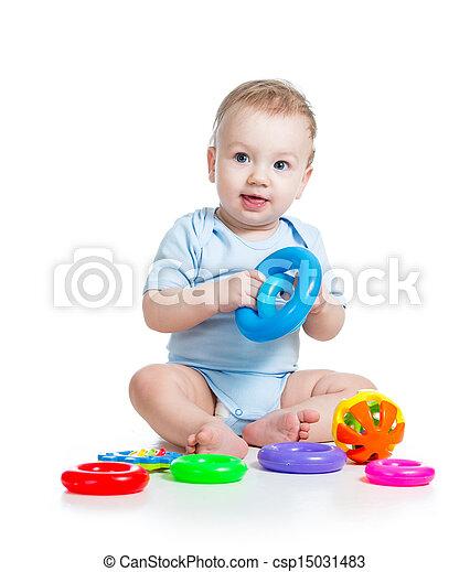 顏色, 男孩, 玩, 嬰孩, 玩具 - csp15031483