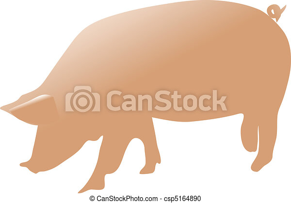 顏色, 矢量, 豬 - csp5164890