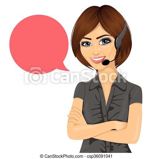 顧客サポート, 腕, 電話, 交差させる, 女性, オペレーター, スピーチ泡 - csp36091041
