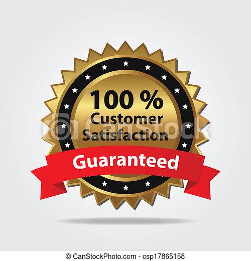 顧客満足, バッジ, 赤, 金 - csp17865158