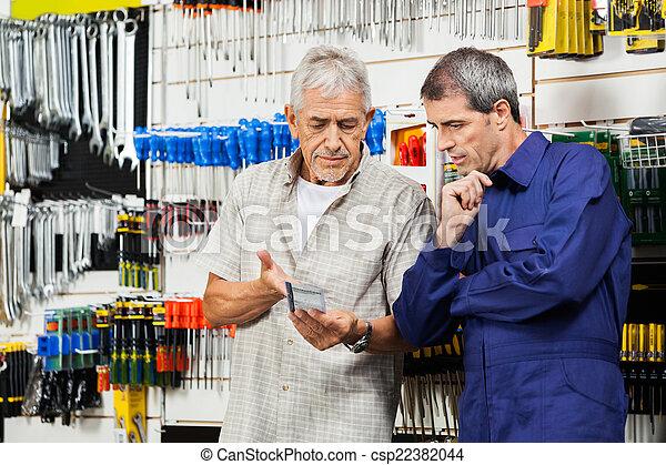 顧客, 上に, ベンダー, 論じる, 道具, パックされた - csp22382044
