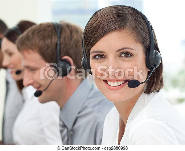 顧客, 中心, 服務, 代理, 電話, 女性 - csp2880998