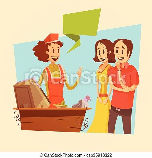 顧客 女子販売員 レトロ イラスト 顧客 女子販売員 給料 イラスト