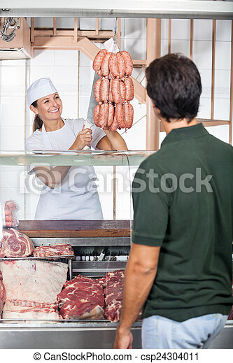 顧客, 店, 販売, ソーセージ, 肉屋 - csp24304011