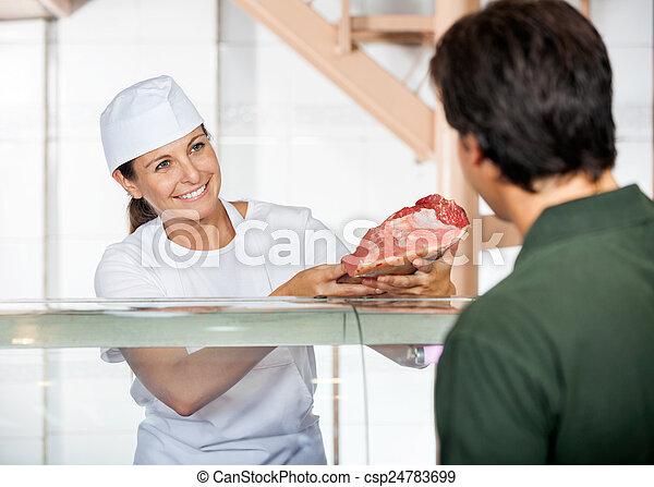 顧客, 新たに, 販売, 肉, 肉屋 - csp24783699