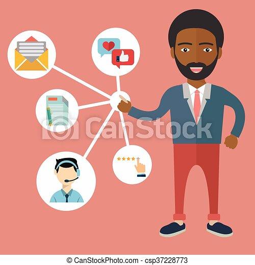 顧客, 管理, 関係, -, イラスト, ベクトル - csp37228773