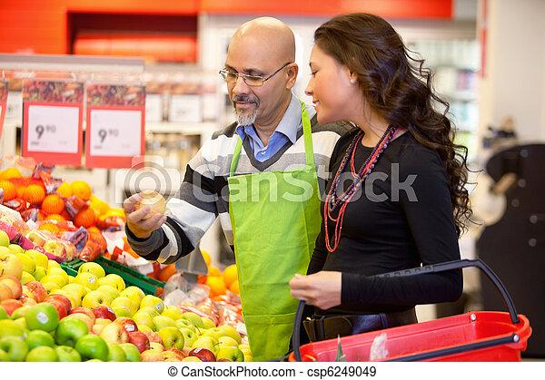 顧客, 食料商人 - csp6249049