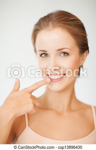 顯示, 婦女, 她, 牙齒 - csp13896430