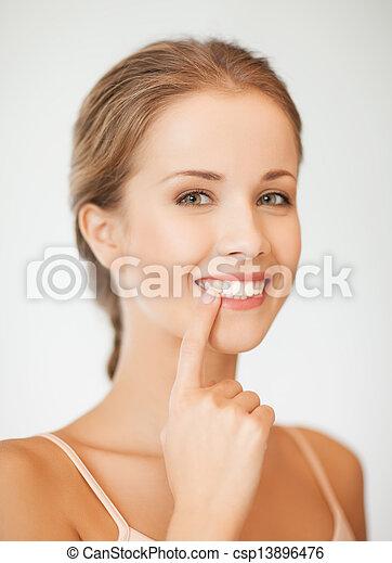 顯示, 婦女, 她, 牙齒 - csp13896476