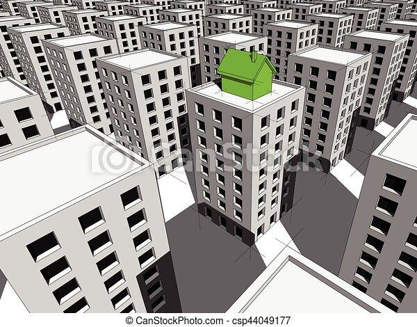 顶端, 公寓, 块, 房子 - csp44049177