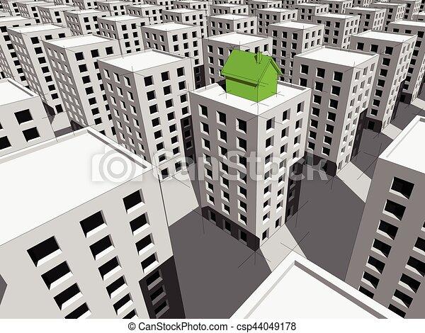 顶端, 公寓, 块, 房子 - csp44049178
