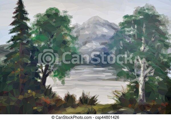 風景, 湖, 木 - csp44801426