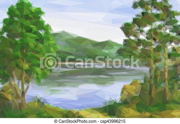 風景, 湖, 木 - csp43996215