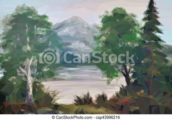 風景, 湖, 木 - csp43996216
