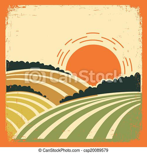 風景, 老, 海報, 領域 - csp20089579