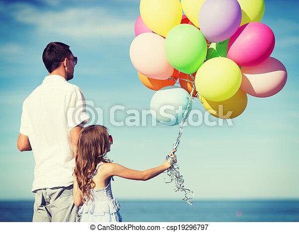 風船, 娘, カラフルである, 父 - csp19296797