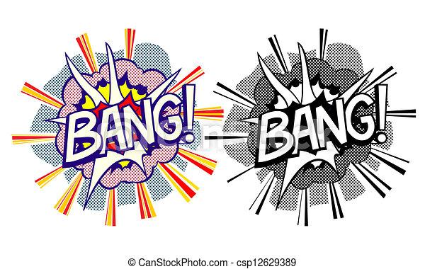风格, 爆炸, 卡通漫画, pop-art素材插图