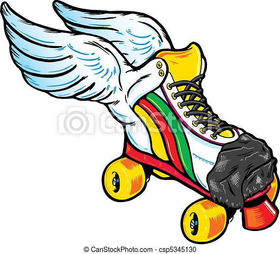 飛ぶ, スタイル, スケート, レトロ, ローラー - csp5345130