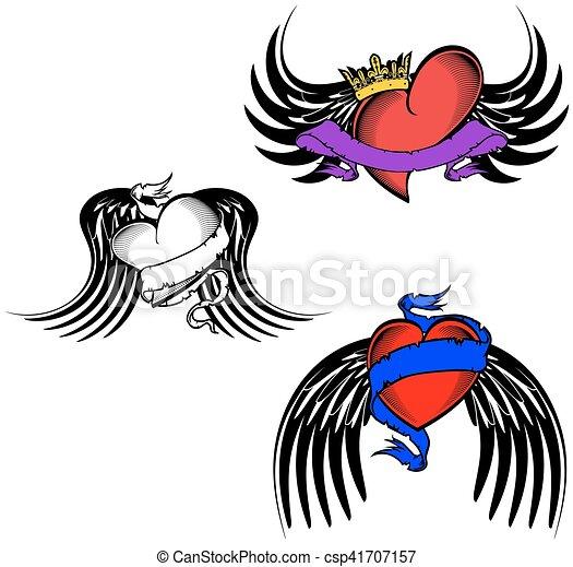 飛ぶ, 入れ墨, 種族, 心 - csp41707157