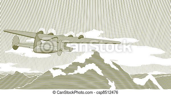 飛剪機, 場景, 木刻 - csp8512476