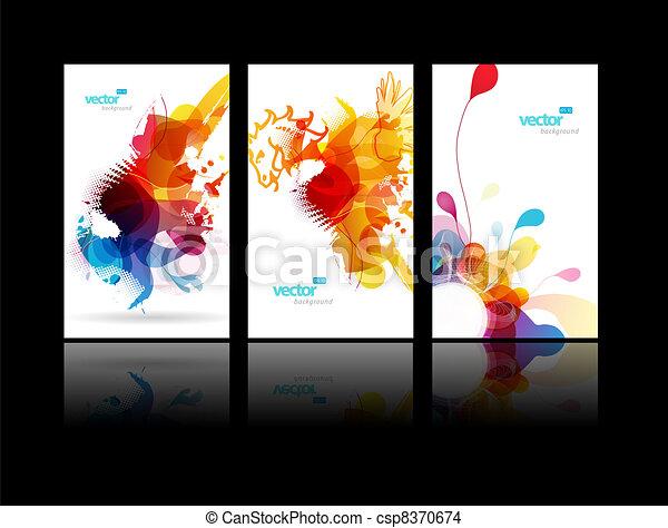飛濺, 摘要, 集合, 鮮艷, illustrations. - csp8370674
