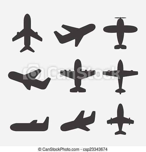 飛行機, ベクトル, アイコン - csp23343674