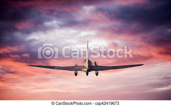 飛行機, 飛行, シルエット - csp42419673