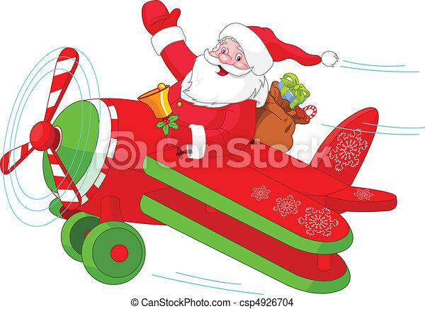 飛行機, santa, クリスマス, 彼の, 飛行 - csp4926704