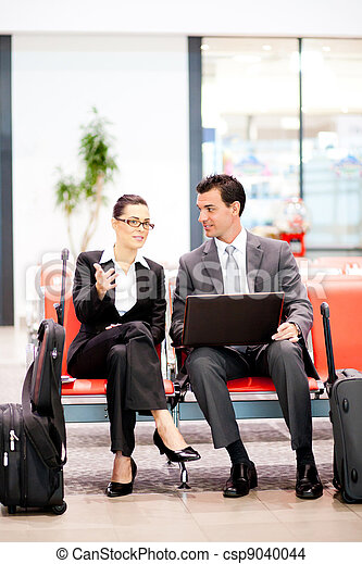 飛行, ビジネス, 待つこと, 旅行者, 2, 空港 - csp9040044